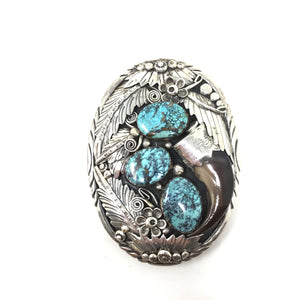 Kingman Turquoise and Bearclaw Belt Buckle