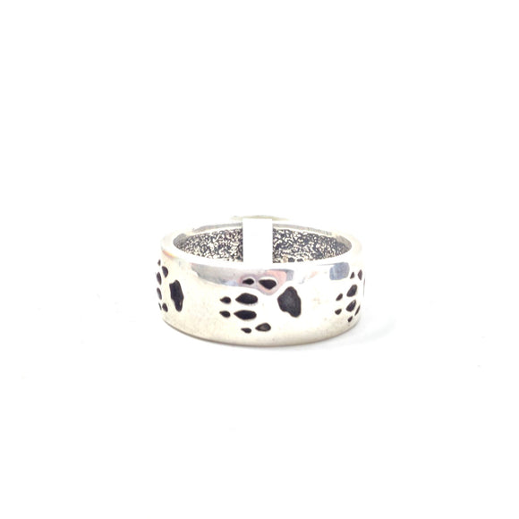 Wolf Paw Print Band Ring, size 12