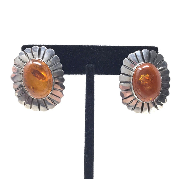 Amber Shield Earrings