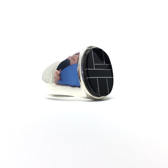 Black Onyx Inlay Ring, size 11