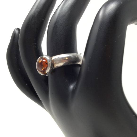 Amber Ring with Bold Band, sizes 7.5 & 8