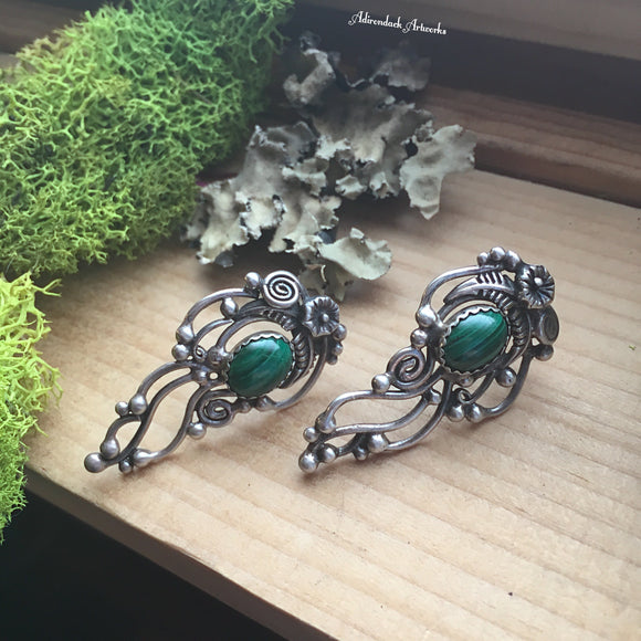 Ornate Malachite Post Earrings