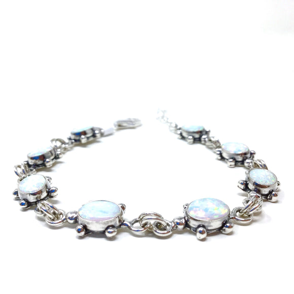 White Opal Turtle Tennis Bracelet