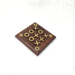 Wooden and Brass Lined Tic Tac Toe Game