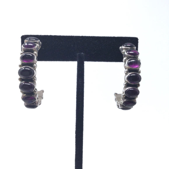 Smooth Natural Amethyst Half Hoop Earrings
