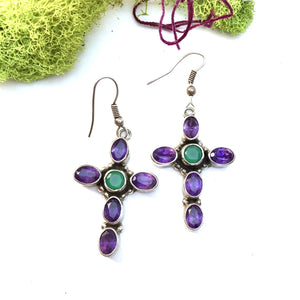 Amethyst and Emerald Valley Quartz Cross Earrings