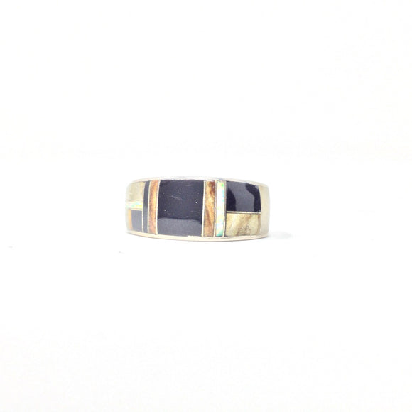 Opal and Black Onyx Inlay Ring, size 11