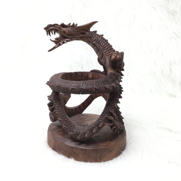 Carved Eastern Dragon Wine Bottle Holder