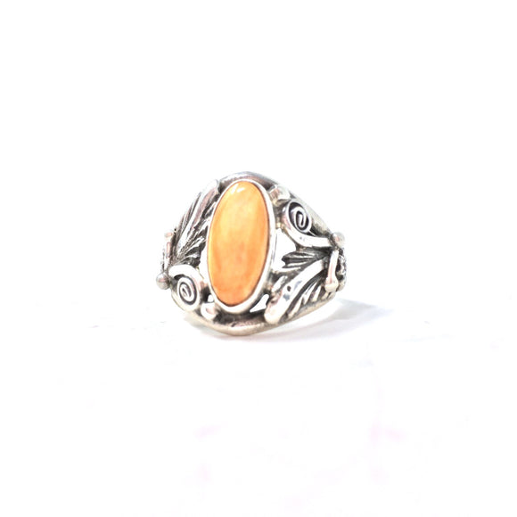 Orange Spiny Oyster Ring, size 9