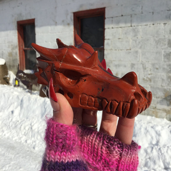 Red Jasper Dragon Skull
