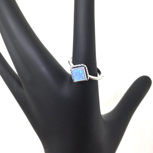 Square Blue Opal Ring, sizes 6-10.5