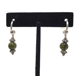 Articulated Green Amber Earrings
