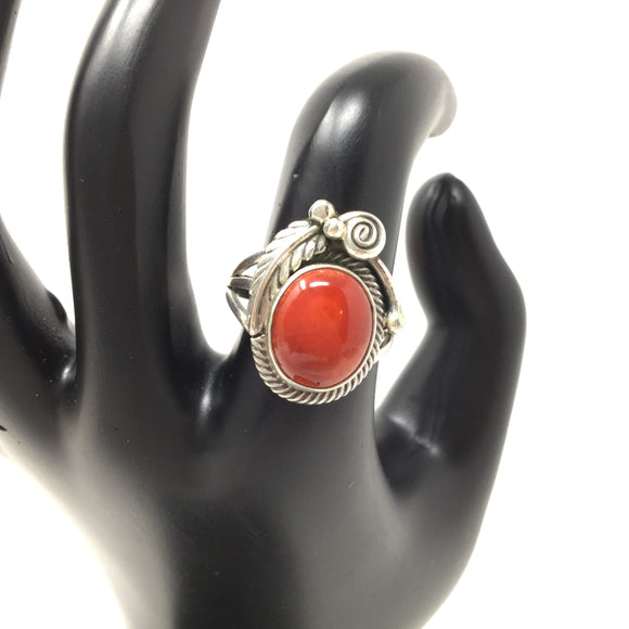 Adriatic Red Coral Ring, size 6