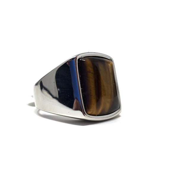 Tigers Eye and Stainless Steel Ring, size 11