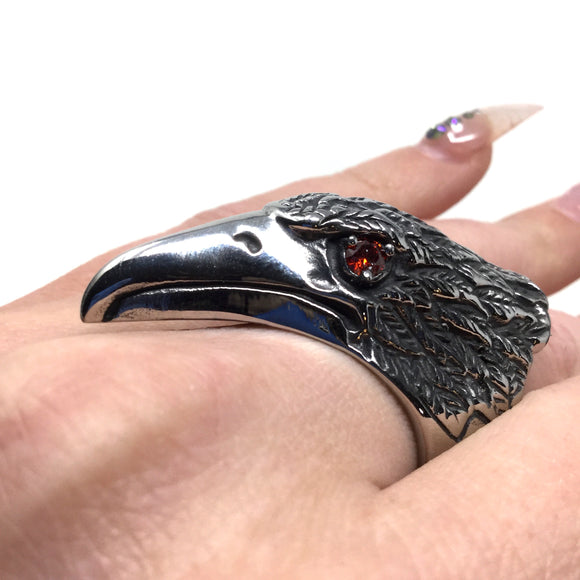 Stainless Steel Raven Ring, size 12