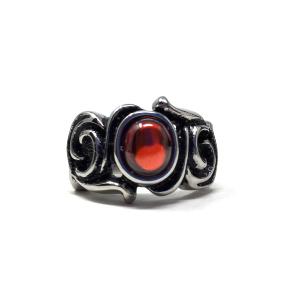 Red Glass and Stainless Steel Ring, size 11