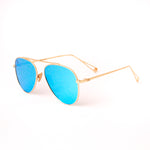 Gold With Ocean Blue Lense Single Bridge Aviator