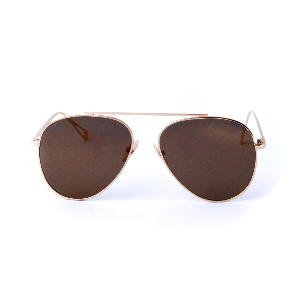 Gold With Brown Gradient Lense Single Bridge Aviator - Escape Society