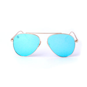 Gold With Ocean Blue Lense Single Bridge Aviator - Escape Society