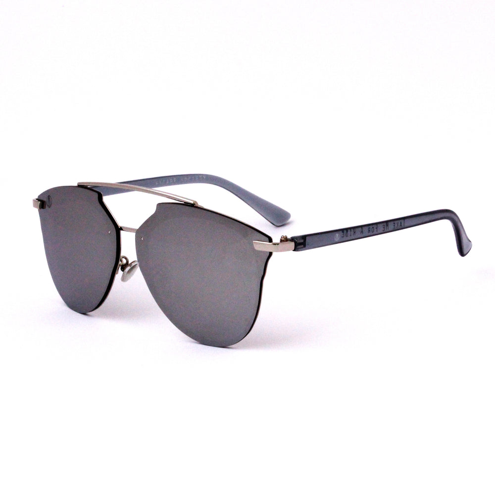 Silver Rimless Aviator With Flash Mirror Lense