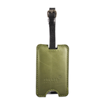 Olive Green Peep-Out Genuine Leather Luggage Tag
