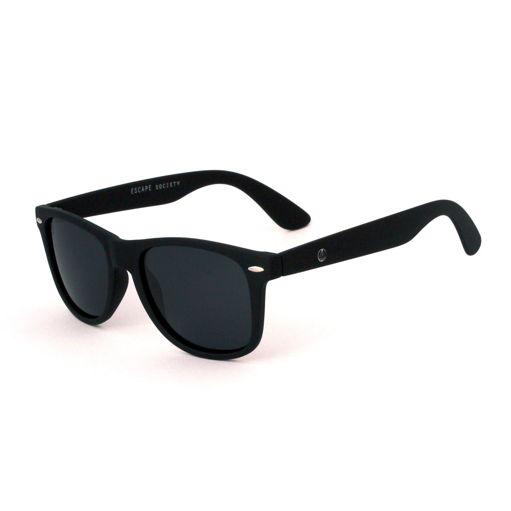 Matte Black Squared Off Retro Sunglasses