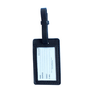 Black Utility Leather Luggage Tag - Escape Society