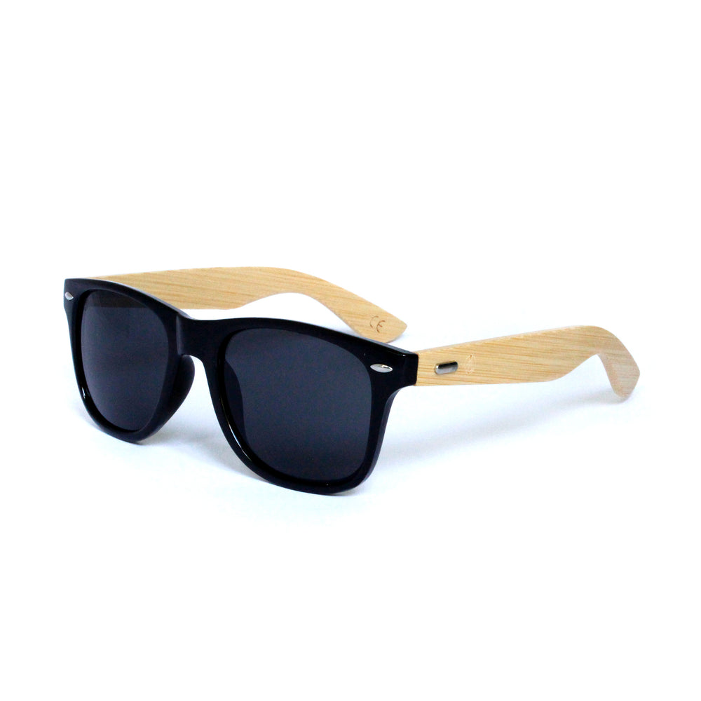 Black Squared Off Retro Frame With Bamboo Temple