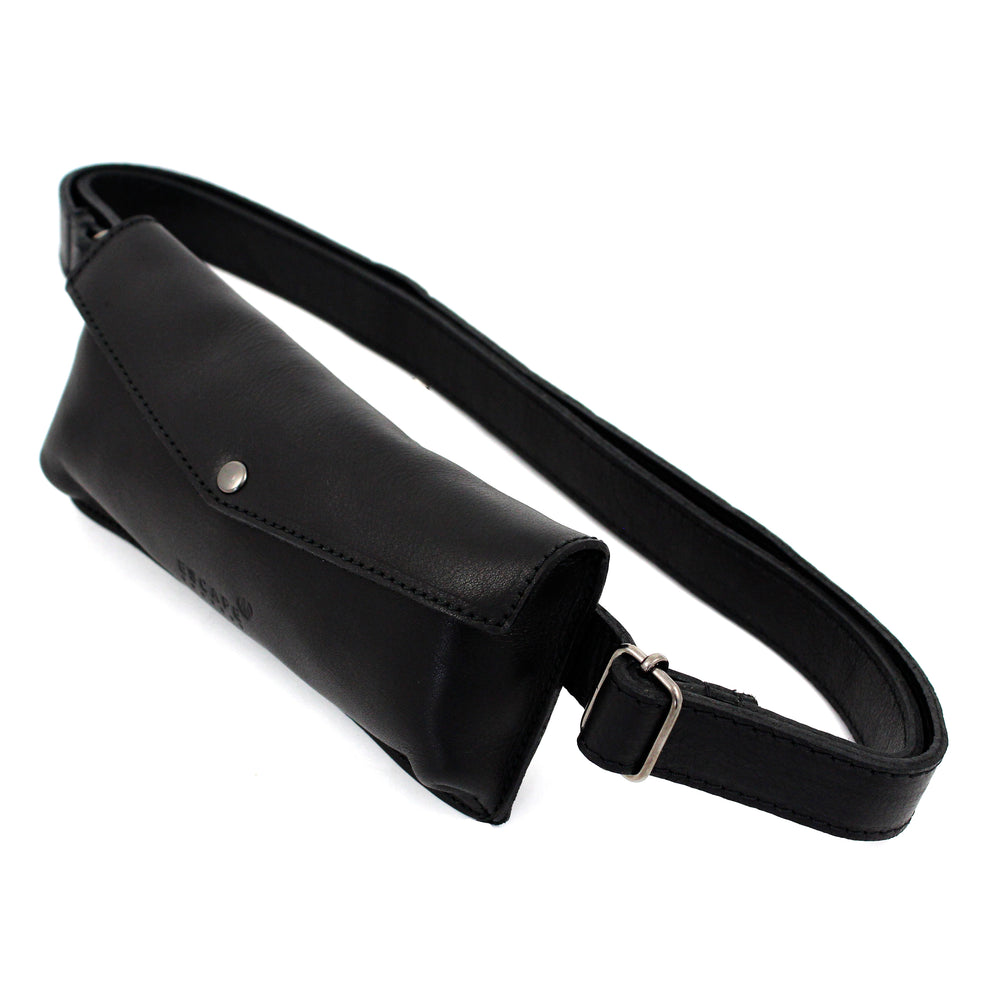 Black Leather Travel Belt Bag