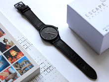 Load image into Gallery viewer, Matte Black 40mm Case With Black Leather Strap - Escape Society