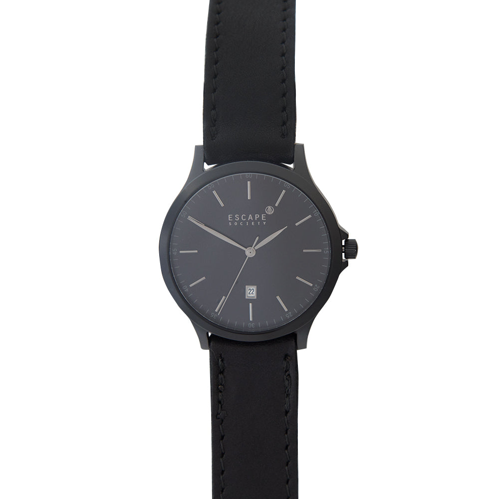 Matte Black 40mm Case With Black Leather Strap - Escape Society