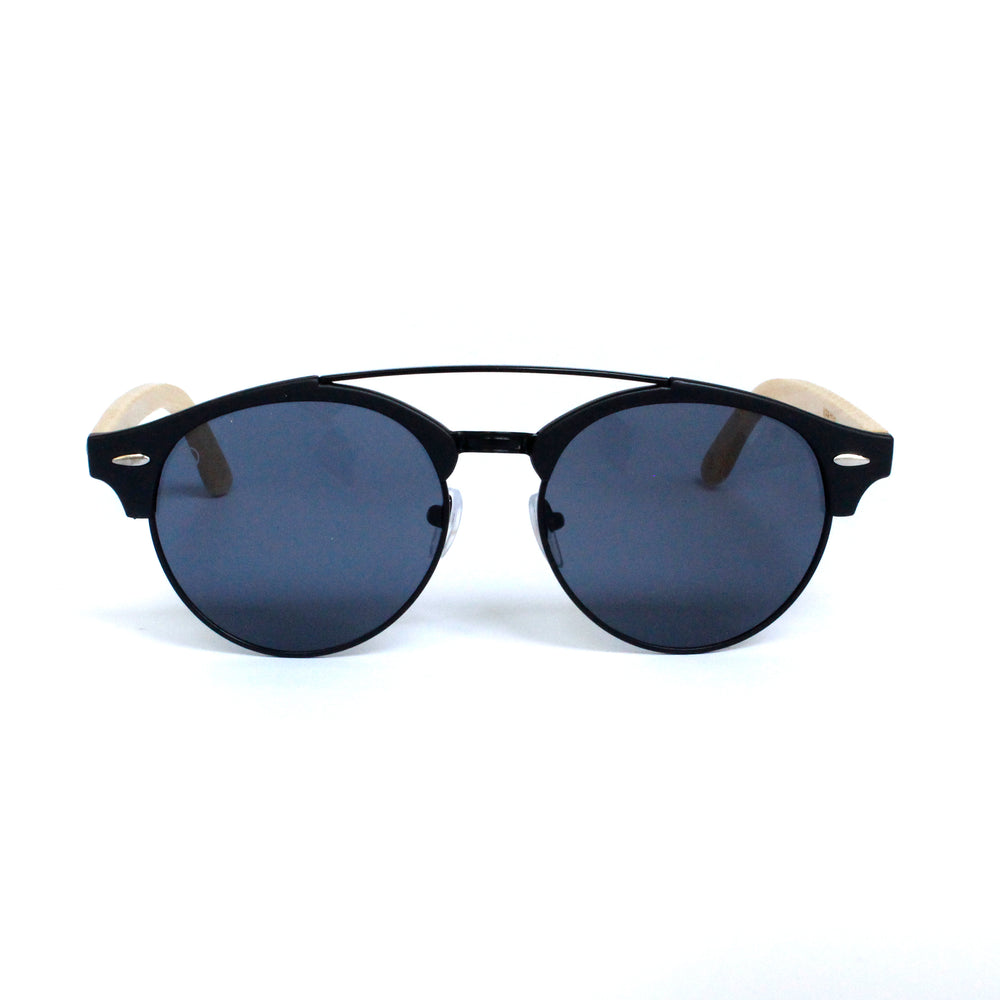 Matte Black Round Lens With Bamboo Temple - Escape Society