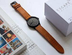 Matte Black 40mm Case With Brown Leather Strap Watch - Escape Society