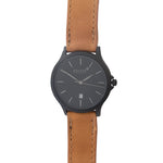 Matte Black 40mm Case With Brown Leather Strap Watch