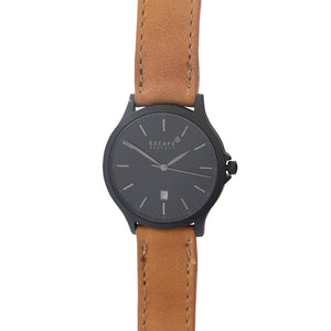 Matte Black 40mm Case With Tan Leather Strap
