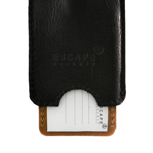 Black Peep-Out Genuine Leather Luggage Tag - Escape Society