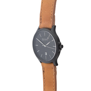 Matte Black 40mm Case With Tan Leather Strap - Escape Society