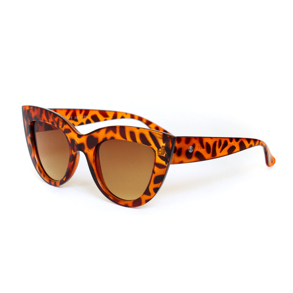 Crystal Tortoise Shell Hooded Brow Cat Eye With Gradient Lens - Escape Society