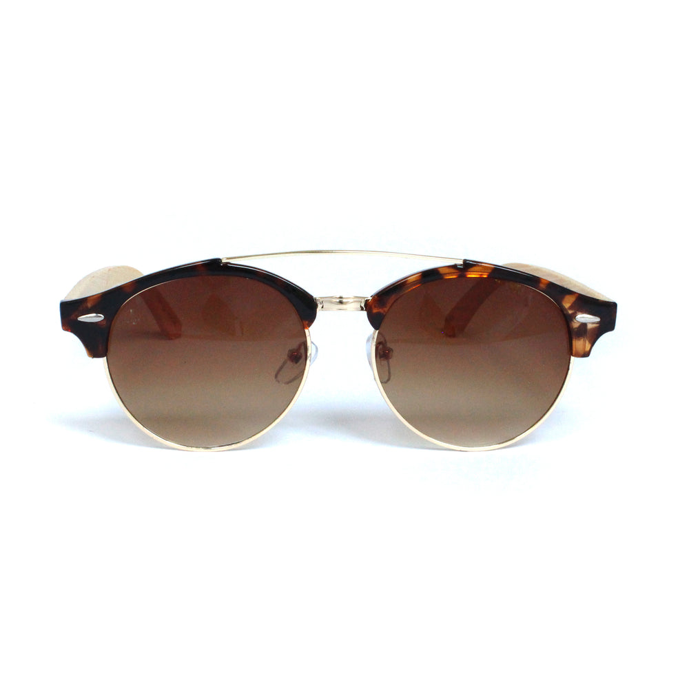 Tortoise Shell Round Lens With Bamboo Temple - Escape Society