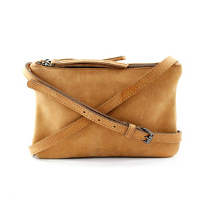 Tan Leather Double Pouch Cross Body - Escape Society