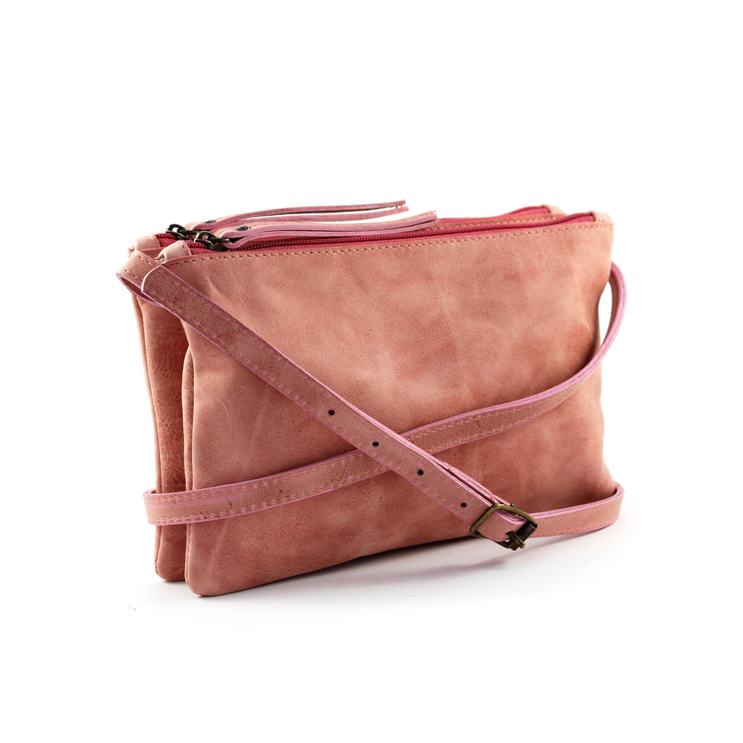 Dusty Pink Leather Double Pouch Cross Body - Escape Society