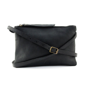 Black Leather Double Pouch Cross Body - Escape Society