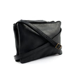 Black Leather Double Pouch Cross Body