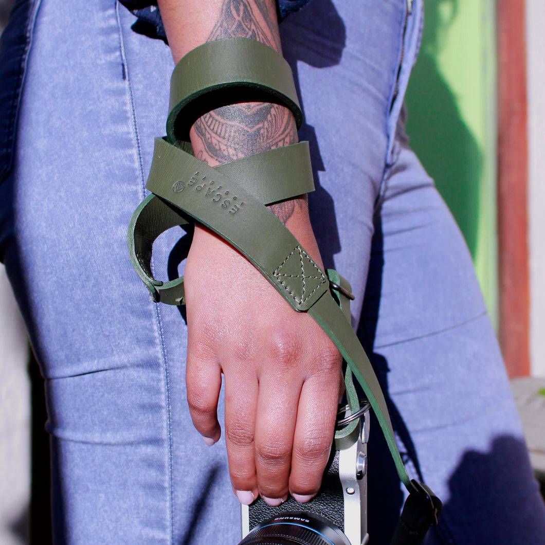 Olive Green Camera Genuine Leather Camera Sling