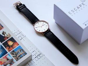 Gold 40mm Case With Black Leather Strap - Escape Society