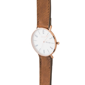 Gold 40mm Case With Brown Leather Strap - Escape Society