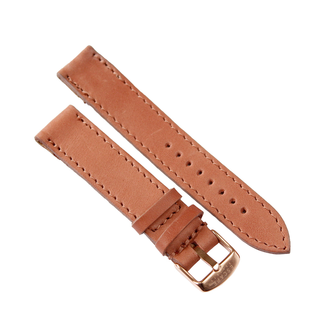 Dusty Pink Genuine Leather 40mm Watch Strap with Gold Buckle - Escape Society