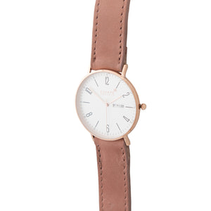 Gold 40mm Case With Dusty Pink Leather Strap - Escape Society