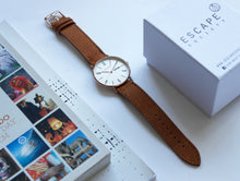 Load image into Gallery viewer, Gold 40mm Case With Tan Leather Strap - Escape Society