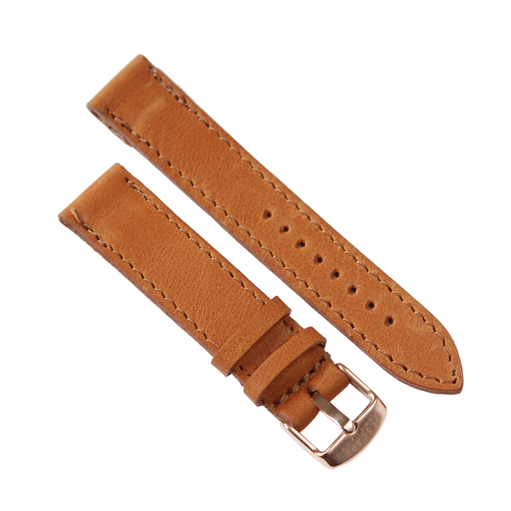 Tan Genuine Leather 40mm Watch Strap with Gold Buckle - Escape Society